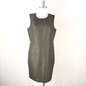 Ann Taylor Loft 16 Olive Green Jacquard dress